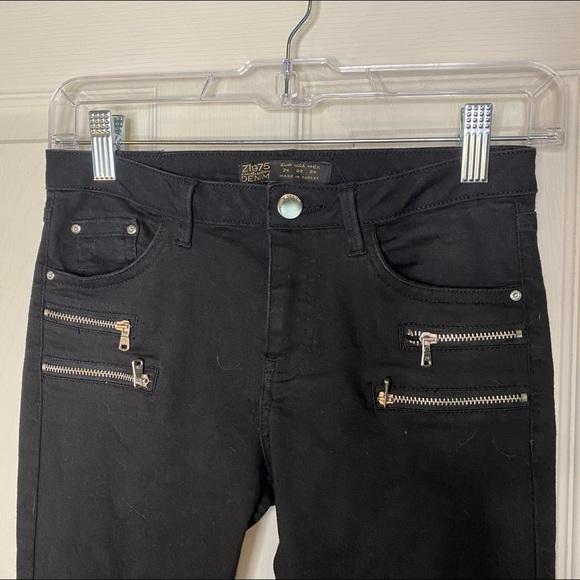 Zara Black Zip Skinny Jeans